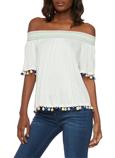 Off the Shoulder Top with Multi Color Pom Pom Trim Top,IVORY,large