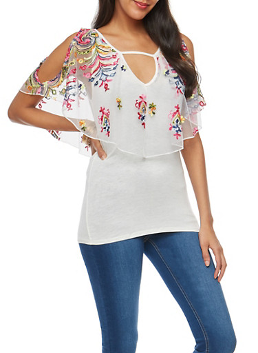 Embroidered Mesh Overlay Cold Shoulder Top,WHITE,large