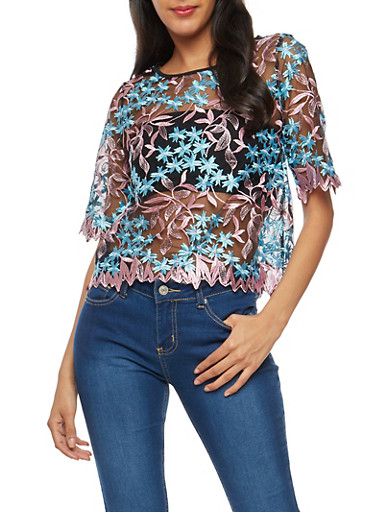 Embroidered Mesh T Shirt with Back Keyhole,PINK/BLUE,large