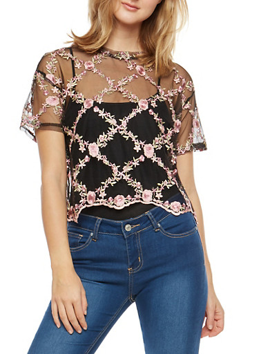 Floral Embroidered Mesh Top,BLACK/PINK,large
