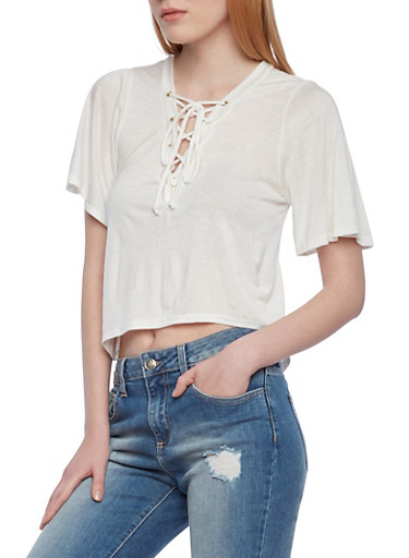 Lace Up Crop Top with Short Flutter Sleeves,IVORY,large