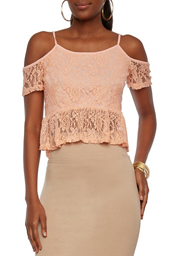 Lace Top with Cold Shoulders and a Ruched Hem,CORAL,large