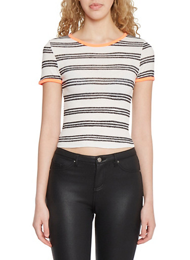 Striped T Shirt in Ribbed Knit,IVY/BLK,large