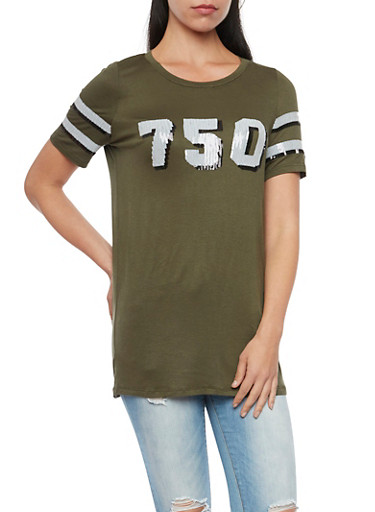 Jersey Tee with Sequins,OLIVE/WHT,large