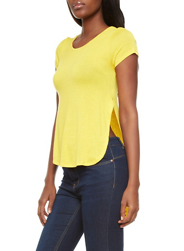 High-Slit Short Sleeve Top With High-Low Hem,YELLOW,large
