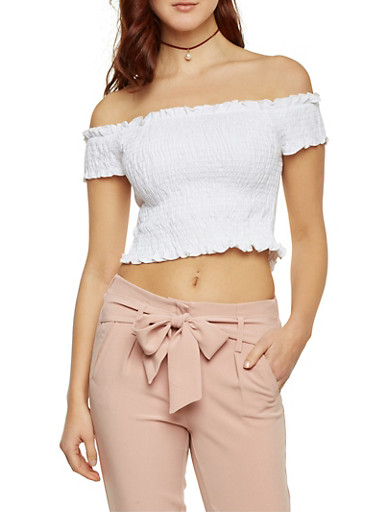 Off the Shoulder Crop Top,WHITE,large