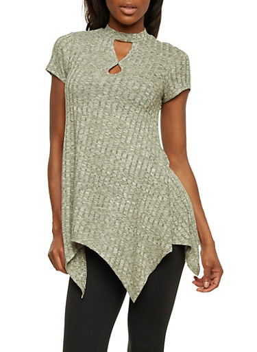 Marled Tunic Top with Keyhole Cutout Neckline,OLIVE,large