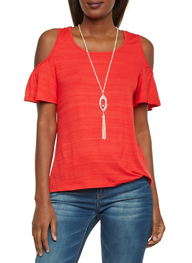 Cold Shoulder Top with Pendant Necklace,CORAL,large