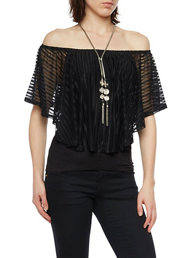 Off The Shoulder Top with Sheer Overlay and Necklace,BLACK,large