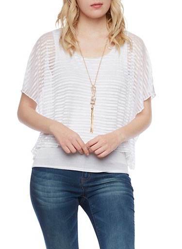 Shadow Stripe Overlay Top with Necklace,WHITE,large