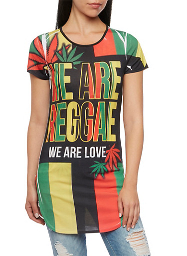 Striped Tunic Top with We Are Reggae Print,MULTI COLOR,large