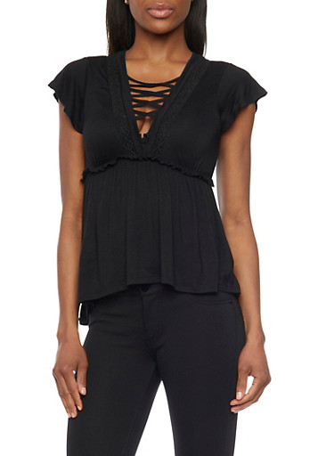 Lace Up V Neck Empire Waisted Peasant Top,BLACK,large