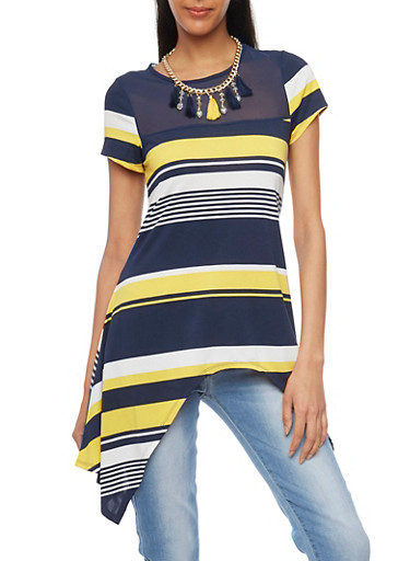 Asymmetrical Striped Short Sleeve Top with Mesh Yoke,NAVY/YELLOW,large