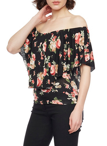 Floral Off The Shoulder Top,BLACK,large