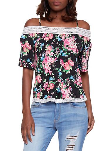 Floral Cold Shoulder Top with Crochet Trim,BLACK,large
