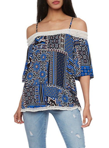 Printed Off The Shoulder Top with Crochet Trim,RYL BLUE,large