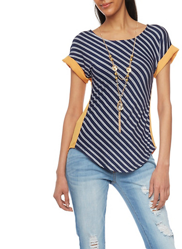 Two Tone Stripe T Shirt with Necklace,MUSTARD/NAVY,large