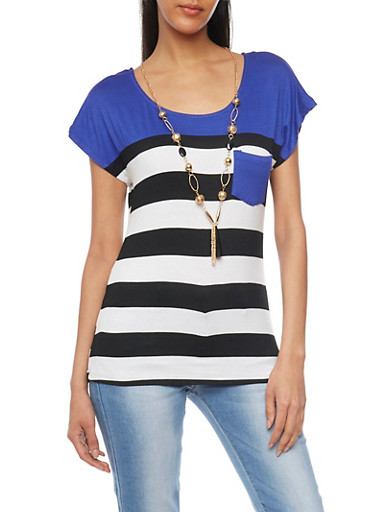 Striped Color Block T Shirt with Necklace,ROYAL/BLK/IVY,large