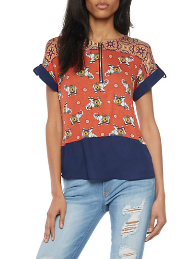 Tab Sleeve Half Zip Elephant Print T Shirt with Chiffon Hem,RUST COMBO,large