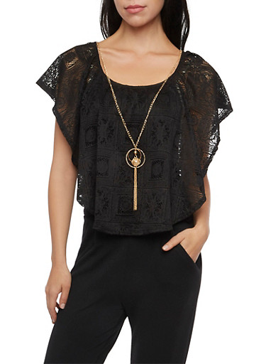 Sleeveless Top with Lace Overlay and Necklace,BLACK,large