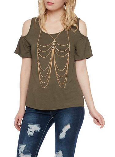 Cold Shoulder Top with Removable Body Chain,OLIVE,large
