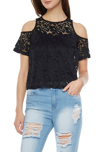 Lace Cold Shoulder Top with Back Keyhole Button,BLACK,large