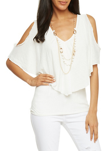 Cold Shoulder Top with Crinkle Overlay and Necklace,IVORY,large