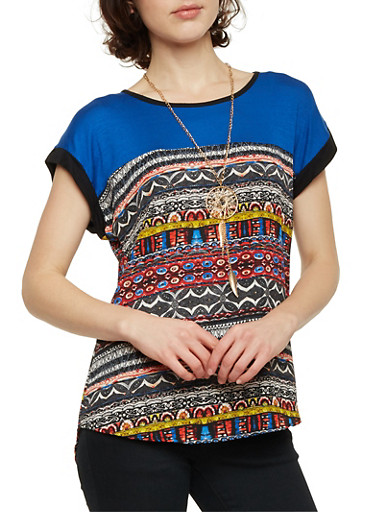 Top with Printed Panel and Necklace,RRED/ROYAL,large