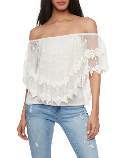 Off the Shoulder Mesh Overlay Top with Crochet Trim,IVORY,large