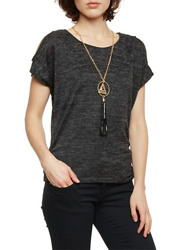 Marled Knit Cold Shoulder Top with Necklace,CHARCOAL,large