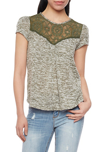 Lace Yoke Neck Knitted Top with Back Keyhole,OLIVE/BLK,large