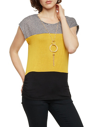 Color Block Striped Top with Necklace,MUSTARD/BLK,large