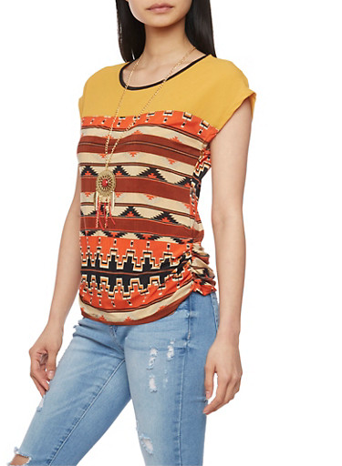 Sleeveless Aztec Print Top with Necklace,ORANGE/RUST,large