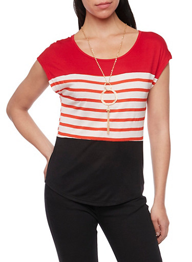 Color Block Striped Top with Necklace,ORANGE/OATMEAL,large
