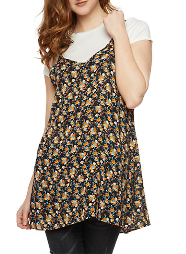 Layered Floral Cami Tunic Top,IVY-BLK,large