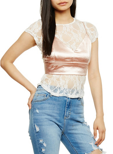 Lace T Shirt with Satin Cropped Cami,WHT/BLUSH,large