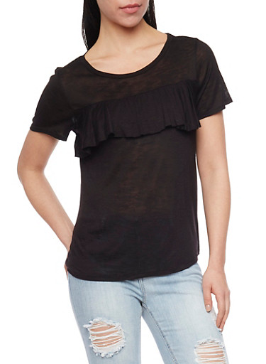 Marled Short Sleeve Top with Ruffle At Bust,BLACK,large