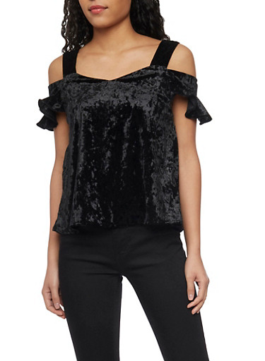 Crushed Velvet Cold Shoulder Top with Flutter Sleeves,BLACK,large
