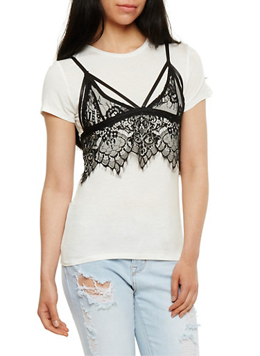Lace Bralette Layered T Shirt,WHT-BLK,large