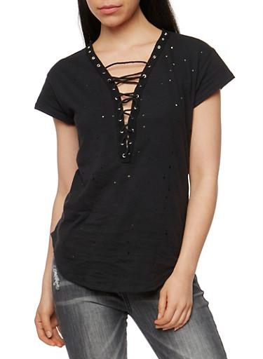 Short Sleeve Lace Up Lasercut T Shirt,BLACK,large