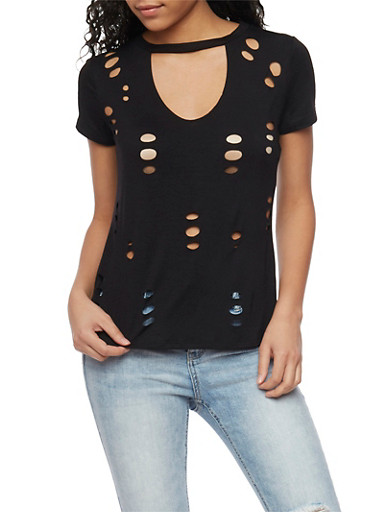 Laser Cutout T Shirt with Keyhole Neck,BLACK,large
