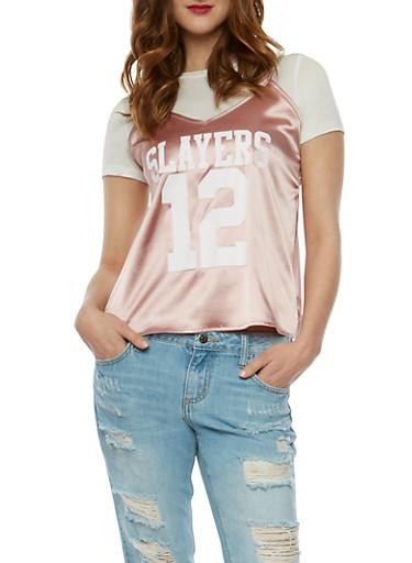 Slayers Graphic Cami Layered T Shirt,WHITE/PINK,large