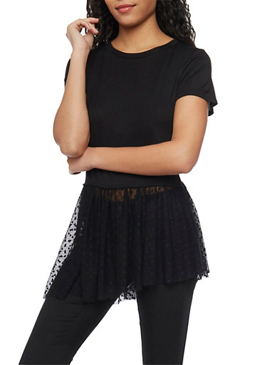 Cropped T Shirt with Mesh Heart Patterned Asymmetrical Panel,BLACK,large