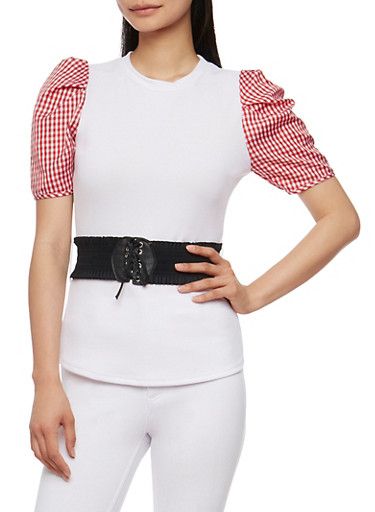 Gingham Sleeve Top with Belt,WHITE/RED,large