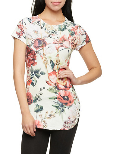 Floral Tunic Top with Necklace,OLIVE/CREAM,large