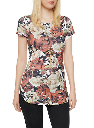 Floral Print Tunic Top with Necklace,IVORY/RUST,large