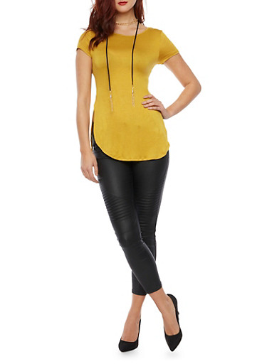 Short Sleeve Tunic Top with Necklace,MUSTARD,large