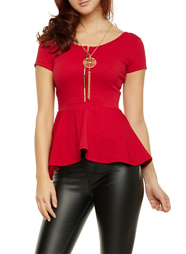 Peplum Top with Zip Scoop Neck and Removable Necklace,RED,large