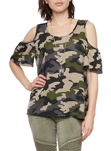 Camo Cold Shoulder Top with Necklace,OLIVE,large