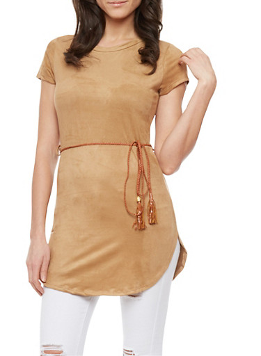 Faux Suede Tunic Top With Woven Belt,CAMEL,large